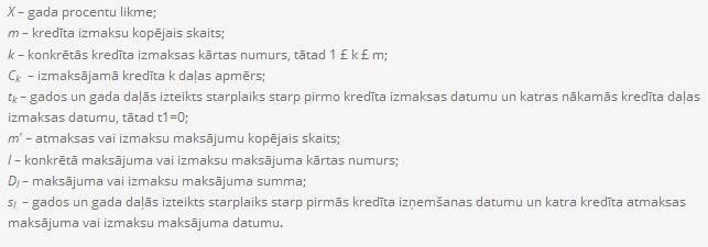 atrie krediti latvija - gada procentu likmes aprēķināšanas piemērs